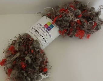 "Handspun Bulky Corespun Art Yarn ""Smoky Fire"" - 2 Skeins Available - Gray, Red - Mohair Locks, Silk"