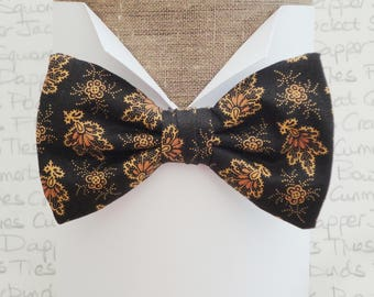Bow ties for men, autumn leaves on black pre tied bow tie