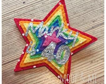Rainbow Star and Heart Felt Birthday Badge