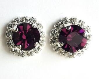 Swarovski Amethyst Stud Earrings Swarovski Silver Post Earrings Amethyst Crystal Earrings Bridesmaid Jewelry Wedding Jewelry Purple Earrings