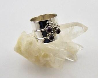 Amethyst ring. Sterling silver. Rings. Gemstone rings. Amethyst. ring. Modern. Designer. Wide band ring. Statement ring. Gemstone ring