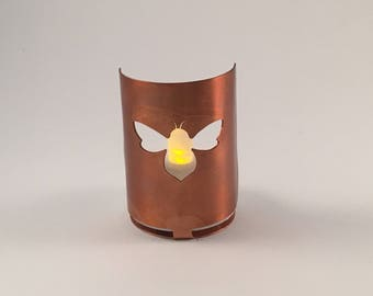 Bee copper tea light holder