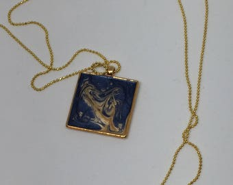 Long Necklace-gold and blue