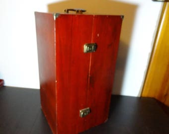 Vintage Large Wooden Doll Trunk/Closet/Wardrobe/Armoire/Travel Case For Doll
