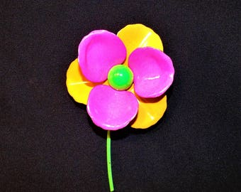1960s Vintage MOD Flower Power Large Enameled 4 in Pin Neon Orange and Pink
