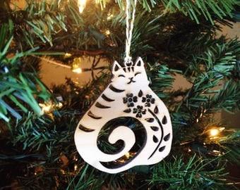 Christmas Cat birch ornament