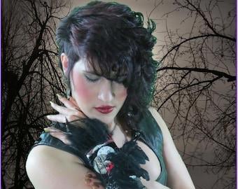 Gothic Cuff Wrist Cuff RAVEN Cuff 3D Raven Steampunk Black Feathers Poe Leather Neo Victorian Cuff