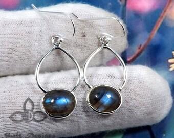 Labradorite Gemstone Earring, Labradorite Earring, Labradorite Silver Earring, Gemstone Jewellery, Blue Fire Labradorite, 925 Silver Earring