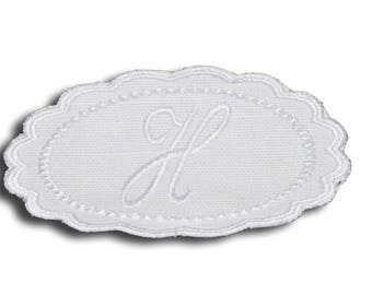 "Embroidery patch ""Letter H"" Monogram white"