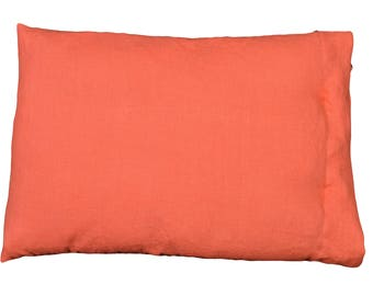 Removable cushion rectangle linen lava-coral""