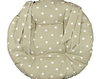 """Round Chair pad D.40cm """"Unbleached hearts"""""""