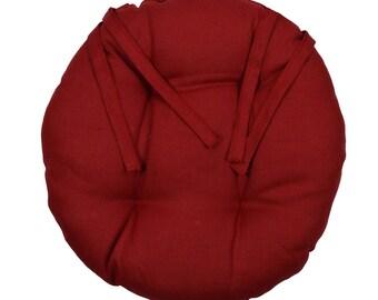 """Round Chair pad D.40cm """"Linen Bordeaux"""""""