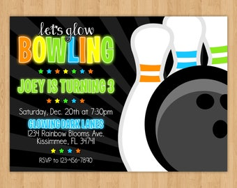 Glow Bowling Birthday Invitation