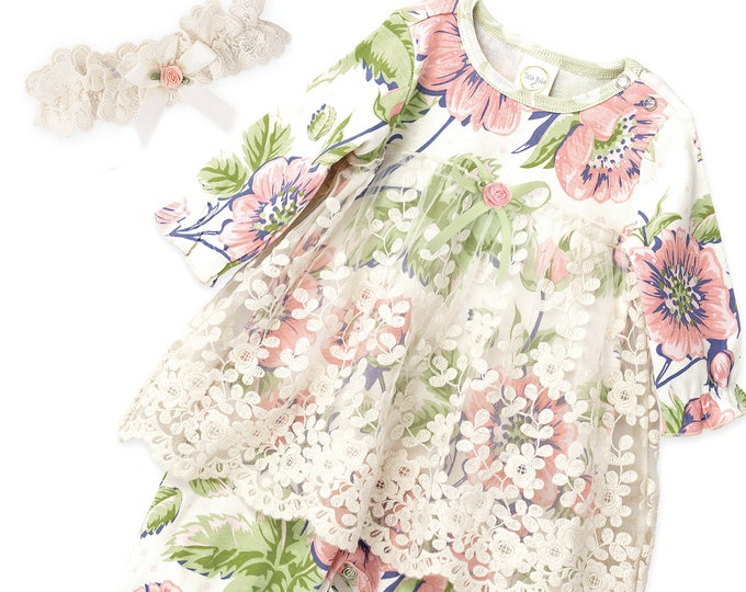SUMMER SPECIAL! Baby Girl Dress, Newborn Girl Coming Home Outfit, Newborn Girl Outfit, Baby Lace Skirted Vintage Floral Romper RH54LRGPF1000