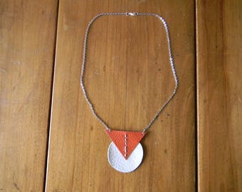 Necklace chain silver leather white/orange