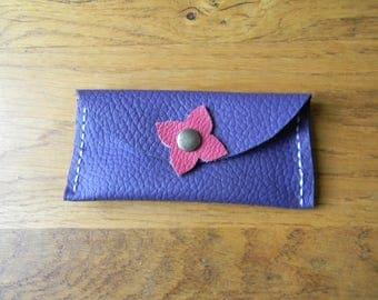 Pocket pill leather closure Purple Clover