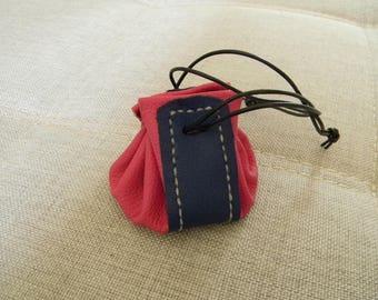 Handmade pink and purple blue leather purse