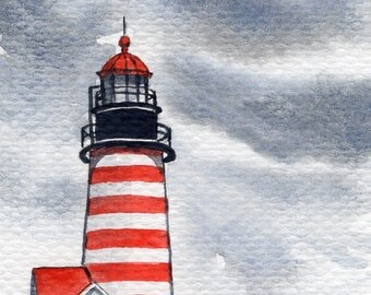 ACEO Original Watercolor Painting-West Quoddy Head Lighthouse,Maine/US/Seascape/Ocean/Black Art