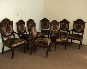 Set Of 8 Formal 19th Century Ornately Carved Oak Dining Room Chairs
