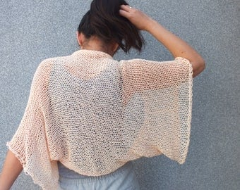 Shrug, Bolero, Summer shrug, Peach shrug, Loose knit, Women shrug, Beach cover up