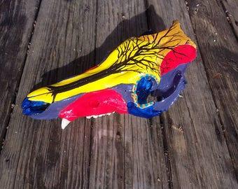 Hand painted boar skull