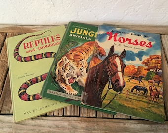 Mid Century 1950s Set of Books Titled A Child's Book Of Horses Jungle Animals and Reptiles and Amphibians