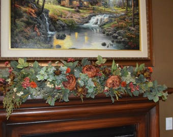 mantle floral, mantle flowers, silk flowers, fall silk flowers, fireplace mantle flowers, wedding fall flowers,