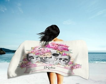 Personalized Sugar Skull Beach Towel , Oversized  36 in x 72 in Pink Floral