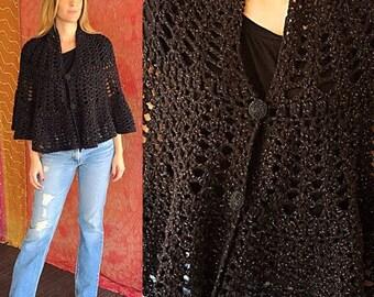 Sale Mod Cape Metallic Cape Crochet Cape Rainbow Cape Vintage 60s Beaded Party Cape