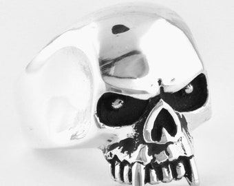 Easter SALE Sterling Silver 925 Skull Fang Ring Made in USA