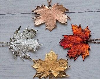 Canadian Maple Leaf Necklace, Autumn Leaf Jewelry, Real Leaf necklace, Gold Leaf, Silver Leaf, RoseGold Leaf Necklace, Autumn Necklace,