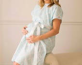 Monogram Labor Gown - Monogrammed Hospital Gown - Mommy and Me - Baby Shower Gift - Custom Labor Gown - Labor Delivery Gown - Boy Mom Gift