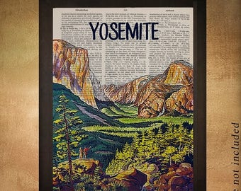SALE-SHIPS Aug 22- Vintage Yosemite travel poster printed on upcycled dictionary, Yosemite Wall Art Home Decor California da925