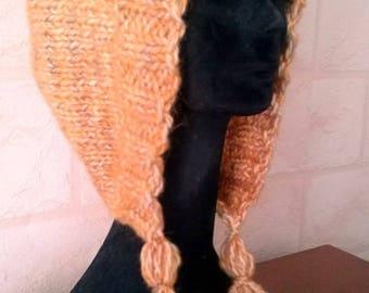 Orange wool hood style hat