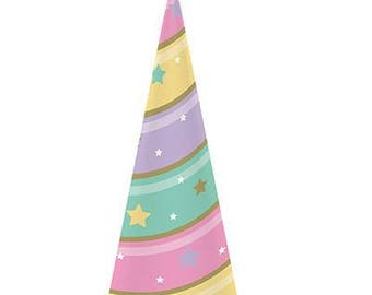 8 Ct Pastel Unicorn Horn Style Birthday Party Hats - Matches Unicorn Party Supplies In This Shop!
