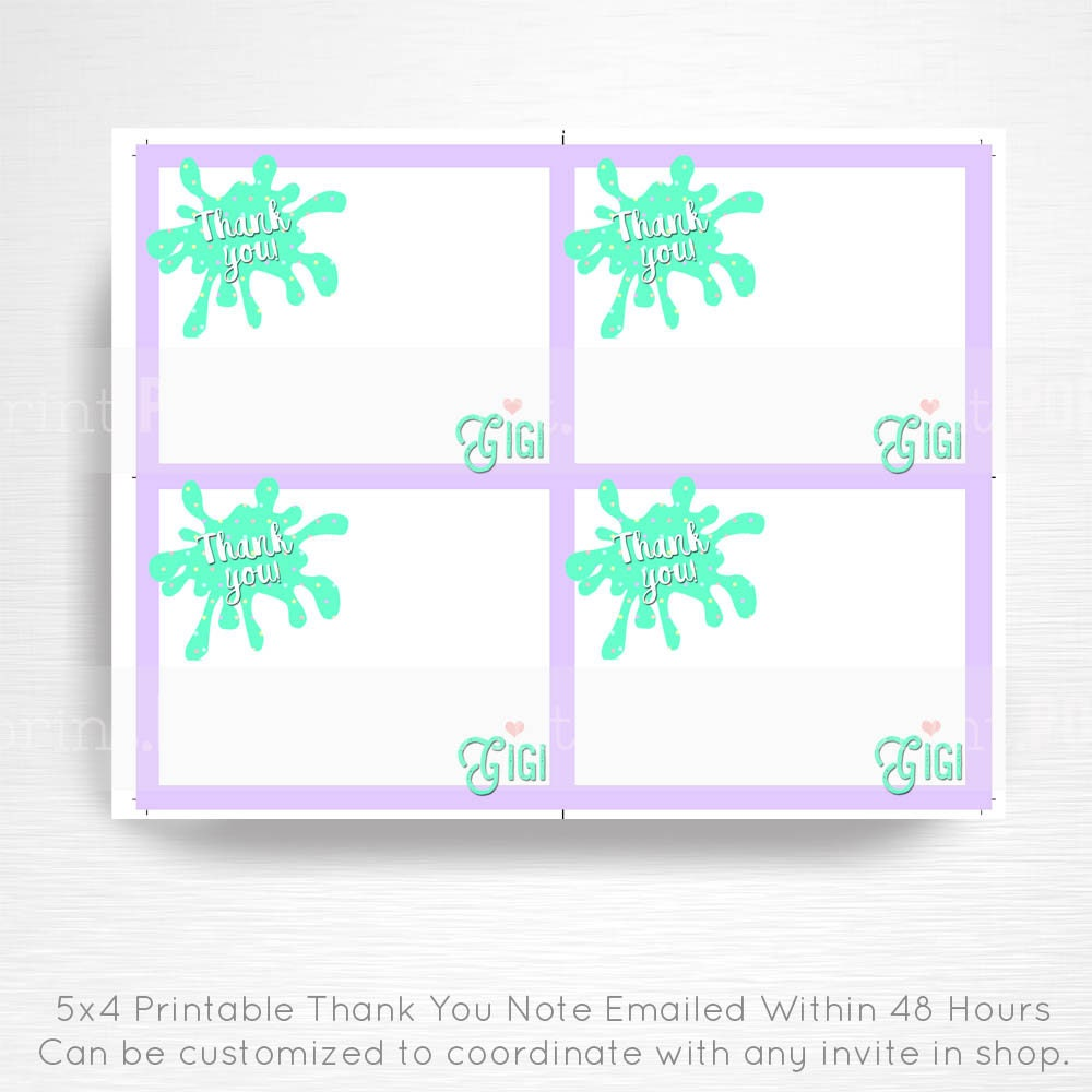 Slime Birthday Party Printable Thank You Note Card YOU Print