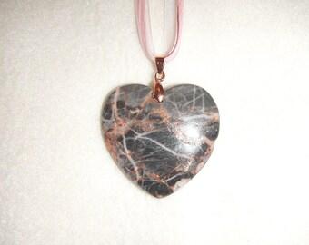 Heart-Shaped Black Jasper pendant necklace (JO604)