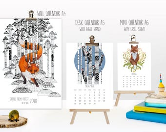 2018 year Animal Calendar Forest Stories Nature Desk Wall Mini calendar with wooden easel stand Animal Cat artistic Mini Home decor Fox bird