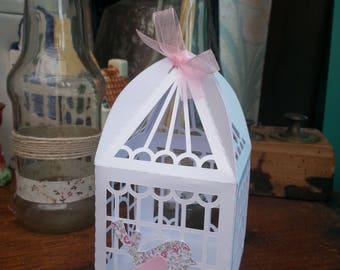 """small containing sweets, candies, favors shaped cage """"bird"""" theme"""