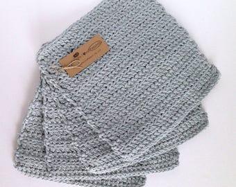 Crochet Dishcloths/ Washcloths - Metal Grey - 100% Cotton -  Handmade Wash Rags - Set of 4 Kitchen Dishcloths - Bathroom Washcloths
