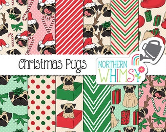"""Christmas Digital Paper - """"Christmas Pugs"""" - hand drawn pug dog (with santa hats, gifts, bows, etc) seamless patterns in red & green - CU OK"""