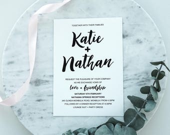 Wedding Invitation - Handwritten black design