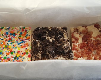 FUDGE SAMPLER BOX Gourmet Candy Fudge, fresh fudge, gift ready 1 1/2 pounds! Over 50 flavors to choose from!