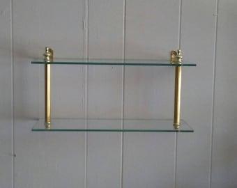 shelf bathroom shelf glass shelf vintage shelf wall shelf