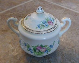 Steubenville Sugar Bowl, Cream Ceramic Sugar Bowl, Floral Sugar Bowl, Vintage Sugar Bowl, Sugar Bowl With Lid, Shabby Sugar Bowl, Gift