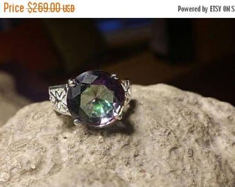 Holiday SALE 85 % OFF Mystic Topaz  ring size 7 Sterling 925 Silver   Ring  Gemstone
