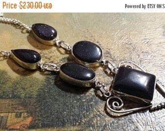 Holiday SALE 85 % OFF Blue Goldstone  Necklace  .925 Sterling  Silver  Gemstone