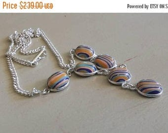 Holiday SALE 85 % OFF Rainbow  Clasilica Necklace .925 Sterling  Silver  Gemstone
