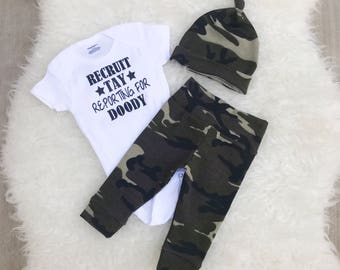 Reporting For Doody, Recruit Reporting For Doody, Newborn Baby Boy Going Home Outfit, Camo Baby Boy Outfit, Military Baby Boy Outfit