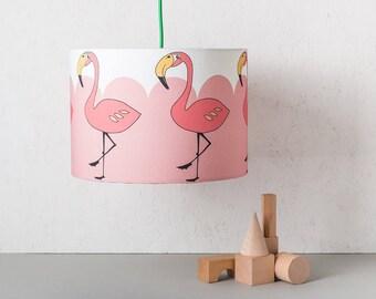 Flamingo Lampshade, Kitsch Pink Flamingo, 30cm Diameter, Ceiling Light, Drum Lampshade, Kids Room Lampshade, Pink Nursery, Cute Homewears